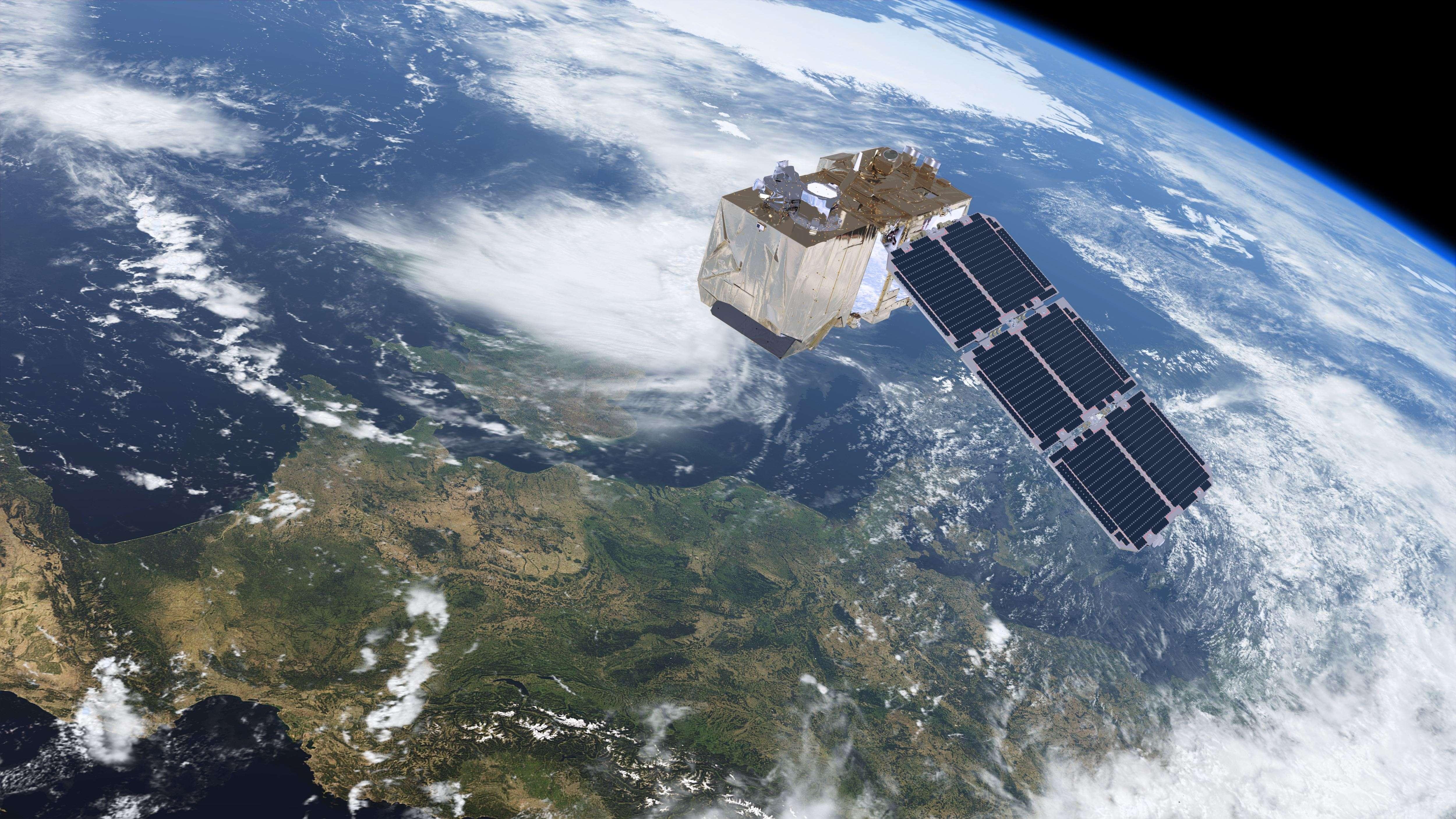 Satellite Sentinel 2 survolant la France