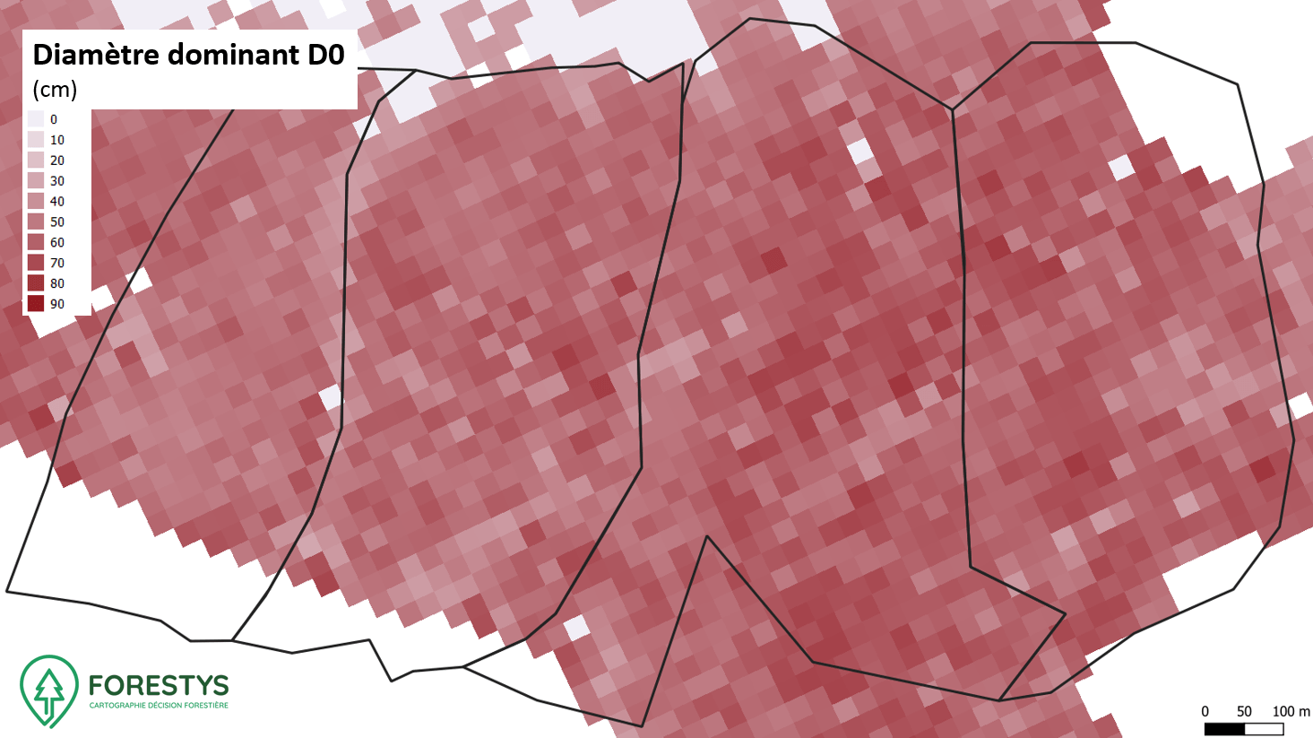 Carte de diamètre dominant. Inventaire spatialisé lidar