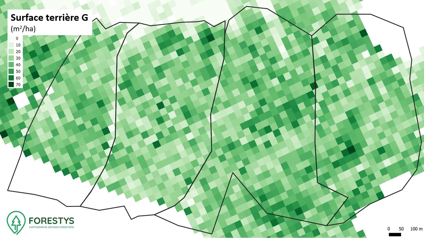 Carte de surface terrière. Inventaire spatialisé lidar