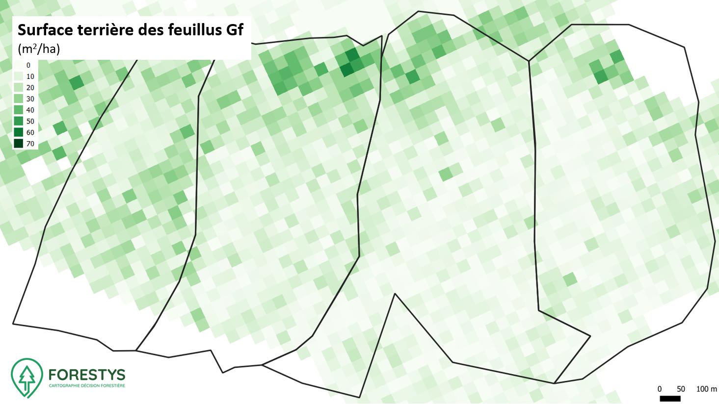 Carte de surface terrière des feuillus. Inventaire spatialisé lidar