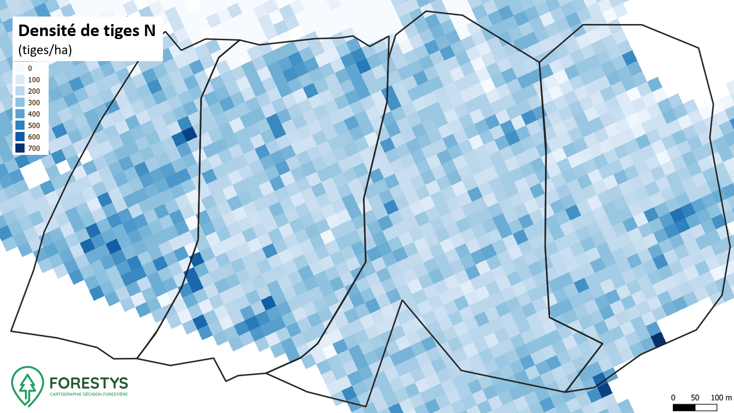 Carte de densité de tiges. Inventaire spatialisé lidar